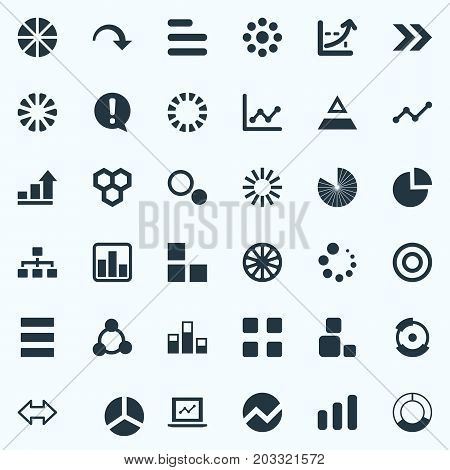 Elements Decline, Pattern, Circular And Other Synonyms Bowl, Progress And Circus.  Vector Illustration Set Of Simple Graph Icons.