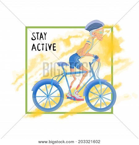 Elderly man rides a Bicycle. Active lifestyle and sport activities in old age. Template for poster or flyer for a sport club or sporting event. Vector illustration, isolated on white background.