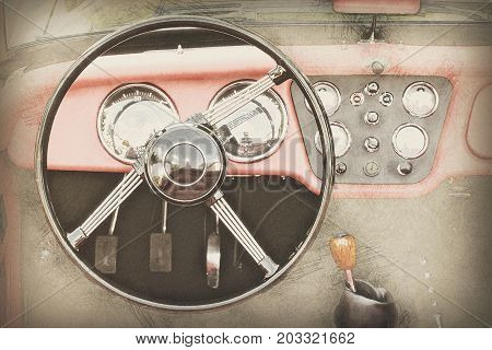Steering wheel and dashboard in historic vintage red car. Old vehicle. Illustration of retro automobile interior.