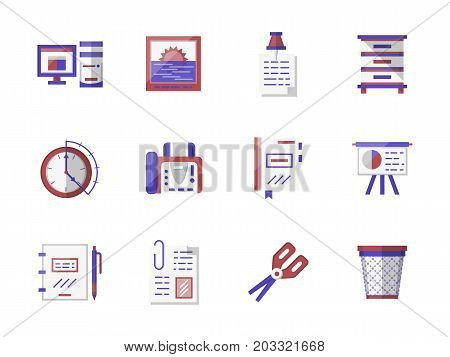 Workspace accessories and office equipment. Paper, file folder, scissors organizer and other objects related to business, school or work. Collection of stylish flat color vector icons.