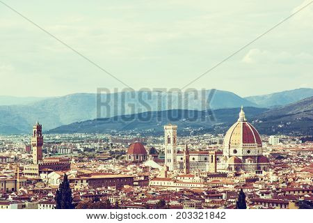 Florence is the capital city of the Italian region of Tuscany and of the province of Florence. Retro photo filter. Travel destination.