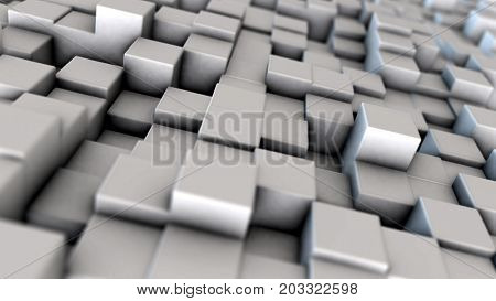 Abstract dynamic white cube blocks field with depth of field settings. Realistic metallic texture. Macro look. 3D rendering.