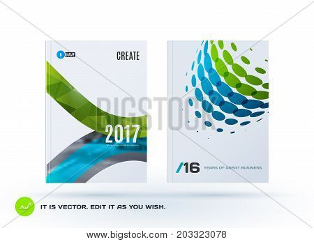 Design of business vector template, brochure, abstract annual report, cover modern layout, flyer in A4 with green eco soft rounded shapes, abstract rounds for finance, catalogue with background. Set