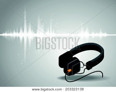 Abstract digital sound wave oscillating with Headphones background vector illustration.
