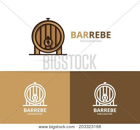 Vector of beer or wine barrel logo design template. Put and bar symbol or icon