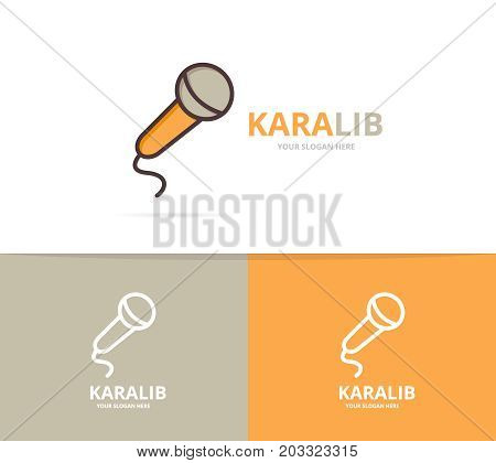 Vector of microphone logo. Unique karaoke and stand up comedy logotype design template.