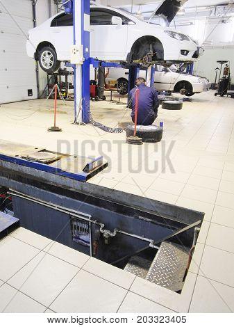 Car in a car repair station