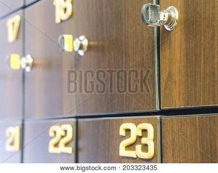 Boxes of a locker room in fitness club