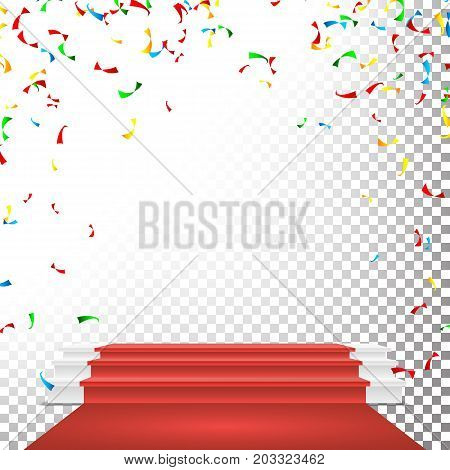 Festive Stage Podium Scene Vector. Falling Confetti Explosion. Red Circle Podium. Award Transparent Background