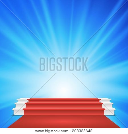 White Winners Podium Vector. Red Carpet. Stage For Awards Ceremony