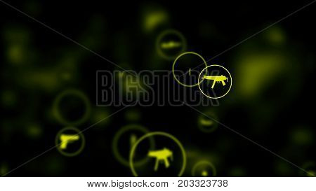 3d render. Camera flight through waepon icons in circle on dark background. Abstract background of rain from glowing weapon icons for backdrop.