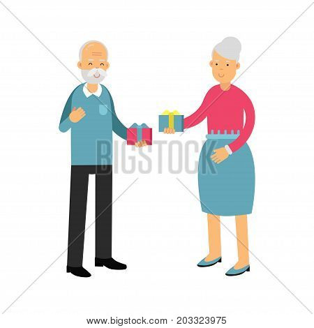 Senior man and beautiful senior woman giving gifts to each other colorful characters vector Illustration on a white background