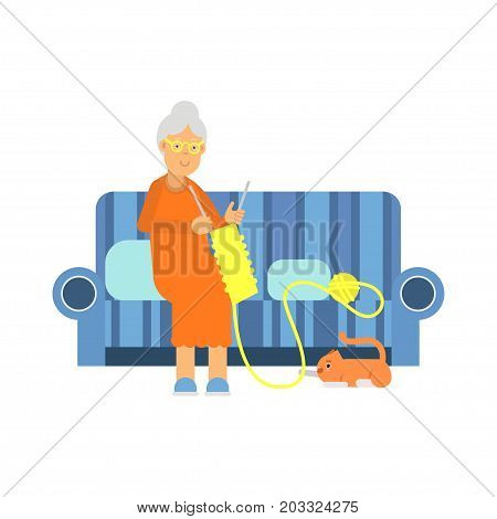 Beautiful senior woman character sitting on the sofa and knitting colorful vector Illustration on a white background
