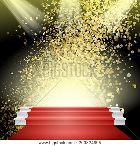 White Winners Podium Vector. Red Carpet. Gold Glitter Cloud Or Shining Particles Explosion. Stage For Awards Ceremony