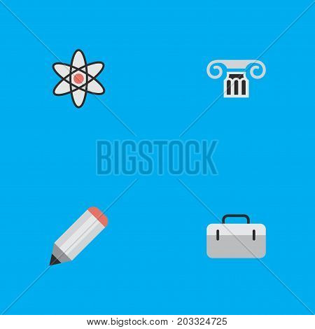 Elements Column, Pen, Briefcase And Other Synonyms Handbag, Briefcase And Column.  Vector Illustration Set Of Simple Education Icons.