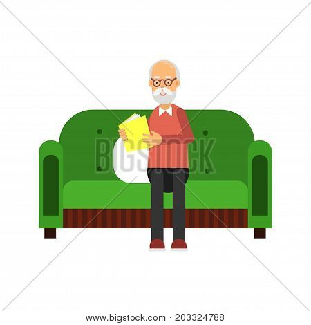 Senior man character sitting on green sofa and reading a book colorful vector Illustration on a white background