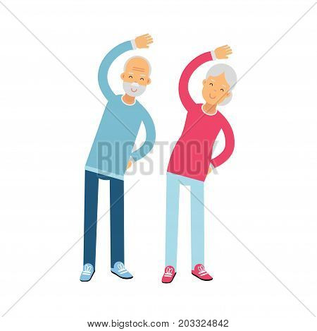 Senior couple characters doing exercises, physical activity benefits for older adults colorful vector Illustration on a white background