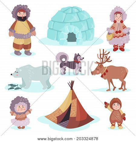 People in traditional eskimos costume and arctic animals set, life in the far north colorful vector Illustrations on a white background