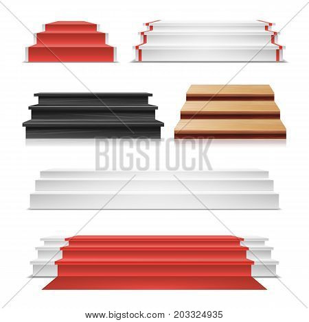 Winner Podium Set Vector. Red Carpet. Wooden Staircase. Pedestal Blank, Template, Mock Up. Isolated On White Background