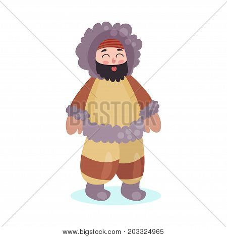 Eskimos woman character dressed in national costume colorful vector Illustration on a white background