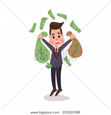 Happy millionaire character hoding money bags, money flying around him, businessman has a lot of money colorful vector Illustration on a white background