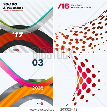 Set of abstract vector design elements for graphic layout. Modern business template with colourful soft rounded shapes, dots for fun, decoration, joy, party, celebration, anniversary on white background.