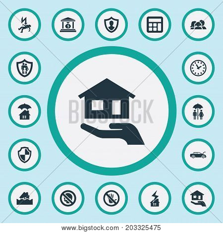 Elements Banking House, Family Insurance, Accounting And Other Synonyms Stop, Torrent And Economy.  Vector Illustration Set Of Simple Guarantee Icons.