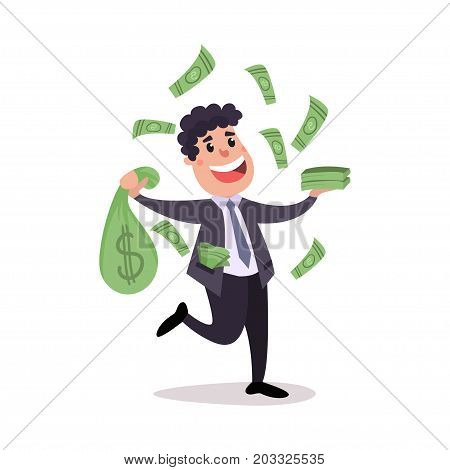 Happy millionaire character sitting on a pile of money bags, money flying around him, businessman has a lot of money colorful vector Illustration on a white background