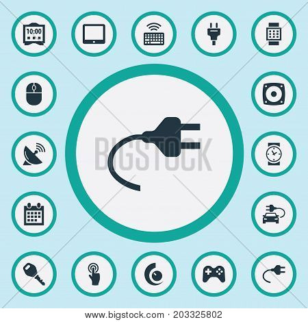 Elements Keypad, Loudspeaker, Eco Transportation And Other Synonyms Wristwatch, Tablet And Keyboard.  Vector Illustration Set Of Simple Smart Icons.