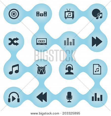 Elements Equalizer, Listen, Barrel And Other Synonyms Sound, Compact And Megaphone.  Vector Illustration Set Of Simple Melody Icons.