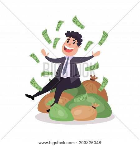 Happy millionaire character sitting on a pile of money bags, money flying around him colorful vector Illustration on a white background