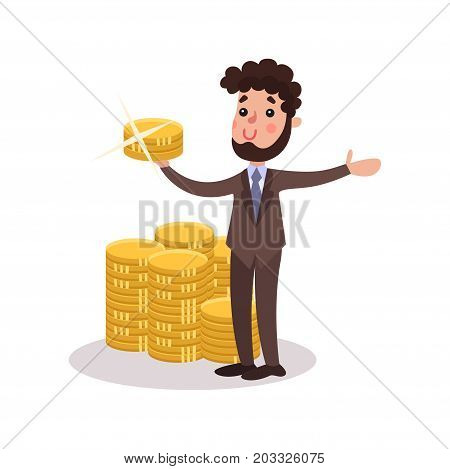 Rich wealthy millionaire character standing next to a pile of gold bars colorful vector Illustration on a white background
