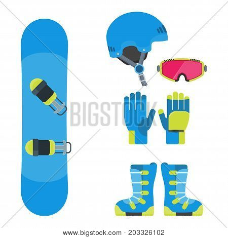 Flat design vector illustration set of snowboard equipment icon . Winter sports. Outfit, clothing, accessories for skiing, snowboarding. Holidays in mountains, active lifestyle. Isolated on white.