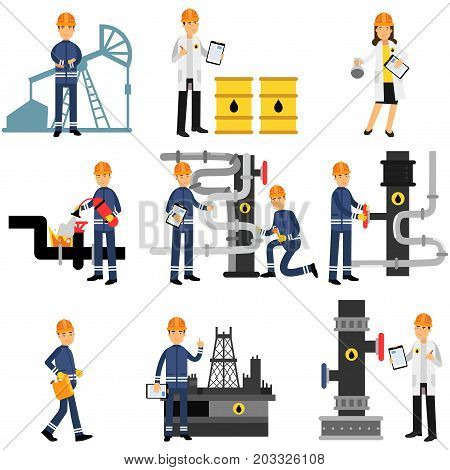 Oil industry set, extraction, production, refinery and transportation oil colorful vector Illustrations on a white background