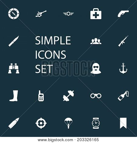 Elements Medical Kit, Goal, Shield And Other Synonyms Spyglass, Paratrooper And M4A1.  Vector Illustration Set Of Simple War Icons.