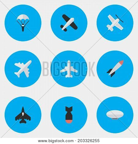 Elements Rocket, Craft, Bomb And Other Synonyms Dynamite, Aircraft And Rocket.  Vector Illustration Set Of Simple Aircraft Icons.