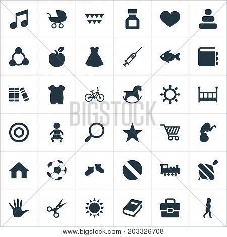 Elements Bookshop, Dictionary, House And Other Synonyms Fruit, Syringe And Portfolio.  Vector Illustration Set Of Simple Infant Icons.