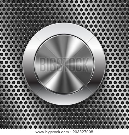 Round switch knob button on metal perforated background. Vector 3d illustration