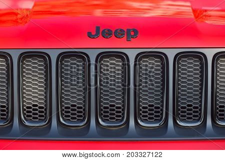 GALATI ROMANIA - SEPTEMBER 2 2017: Jeep is a brand of American automobiles that produce solely of sport utility vehicles and off-road vehicles