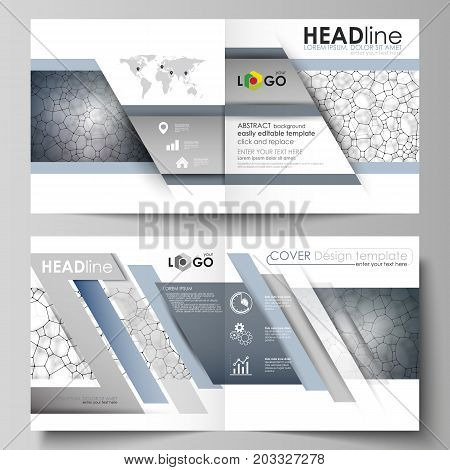 Business templates for square design bi fold brochure, flyer. Leaflet cover, vector layout. Chemistry pattern, molecular texture, polygonal molecule structure, cell. Medicine, microbiology concept.