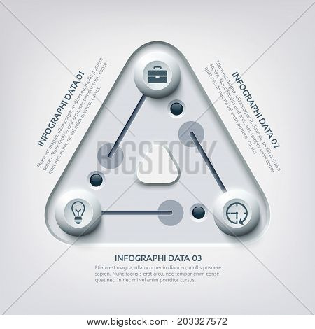 Business infographic concept with triangle pitch controllers three options and icons vector illustration