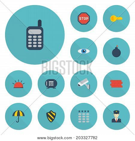 Flat Icons Safe, Vision, Parasol And Other Vector Elements