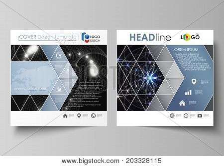 Business templates for square design brochure, magazine, flyer, booklet or annual report. Leaflet cover, abstract vector layout. Sacred geometry, glowing geometrical ornament. Mystical background
