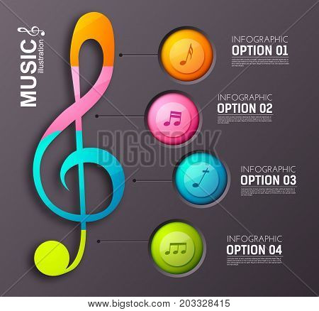 Music abstract infographics with four colorful circles treble clef and musical notes on dark background vector illustration