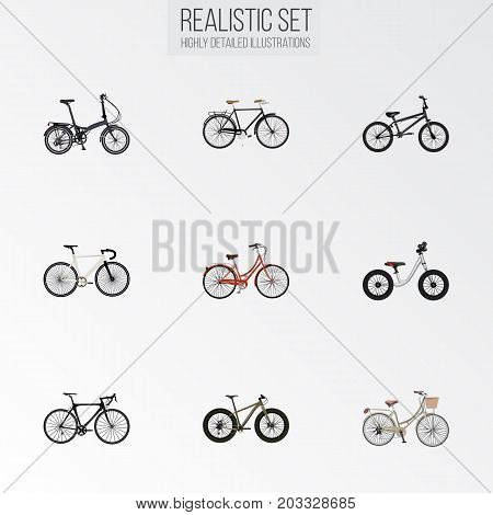 Realistic Fashionable, Bmx, Retro And Other Vector Elements