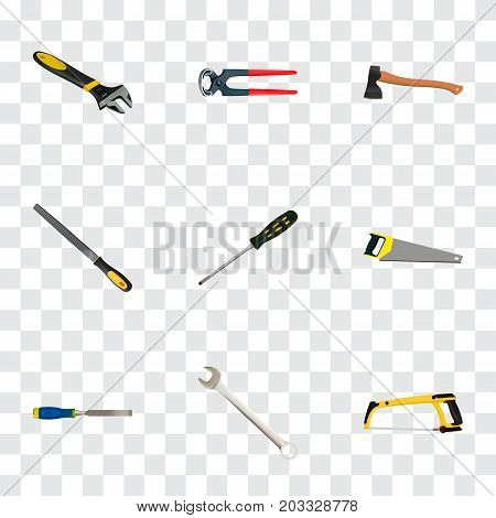 Realistic Wrench, Arm-Saw, Carpenter And Other Vector Elements