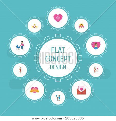 Happy Mother's Day Flat Icon Layout Design With Envelope, Best Mother Ever And Son Symbols