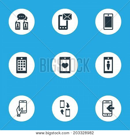 Elements Screen, Numbers, Touchscreen And Other Synonyms Call, Smartphone And Synchronization.  Vector Illustration Set Of Simple Smartphone Icons.