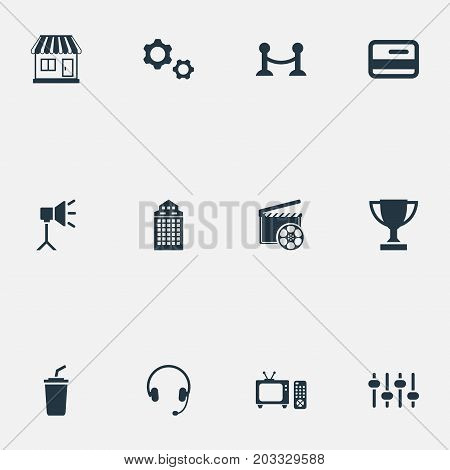 Elements Soda, Member Access, Rope Barrier And Other Synonyms Building, Drink And Controller.  Vector Illustration Set Of Simple Movie Icons.