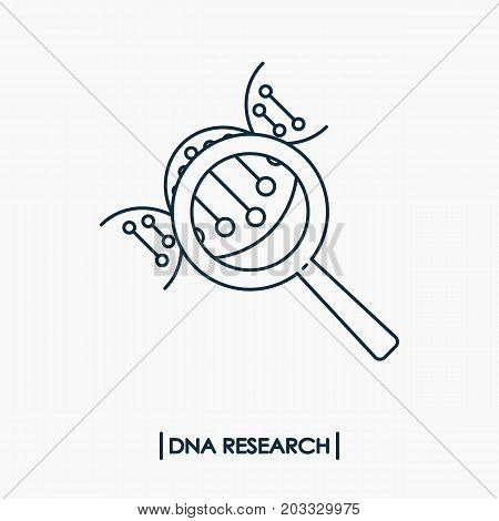 DNA research outline icon isolated. Molecule DNA with magnifier
